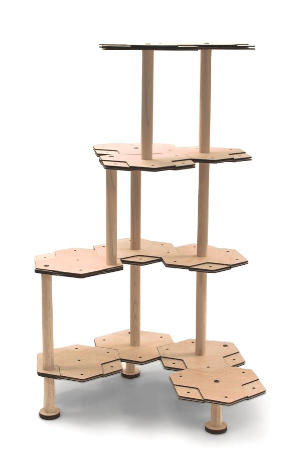 高いキャットタワーの組みかえ例