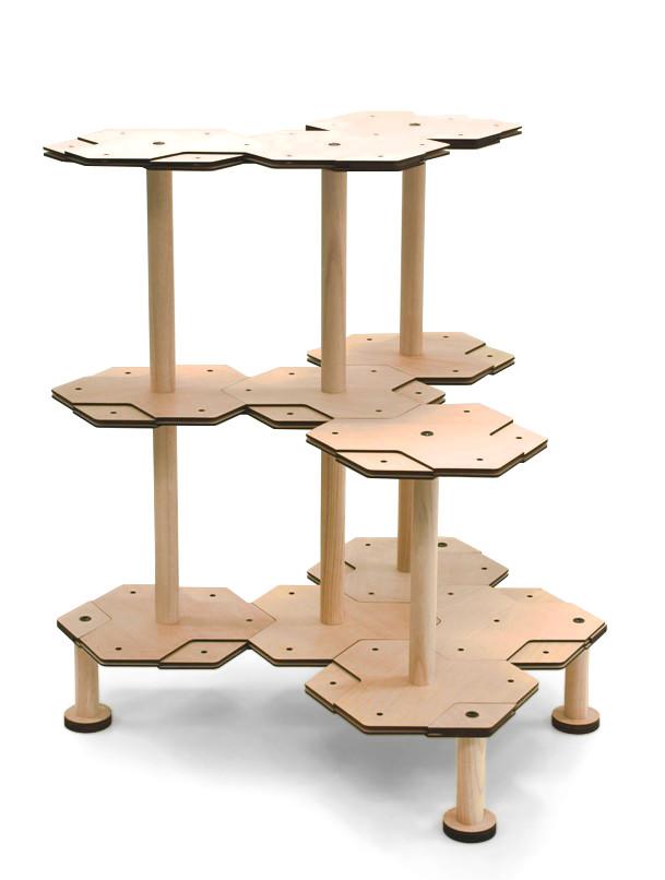 3段のキャットタワーの組みかえ例